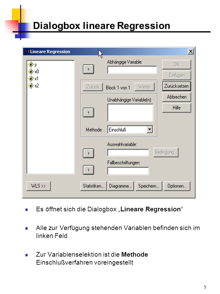 Dialogbox lineare Regression