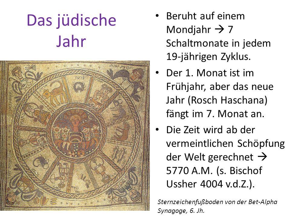 Das jüdische Jahr Beruht auf einem Mondjahr  7 Schaltmonate in jedem 19-jährigen Zyklus.