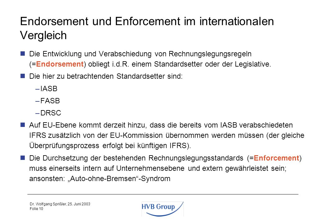 Endorsement und Enforcement im internationalen Vergleich