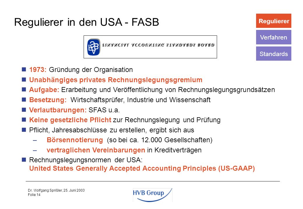 Regulierer in den USA - FASB