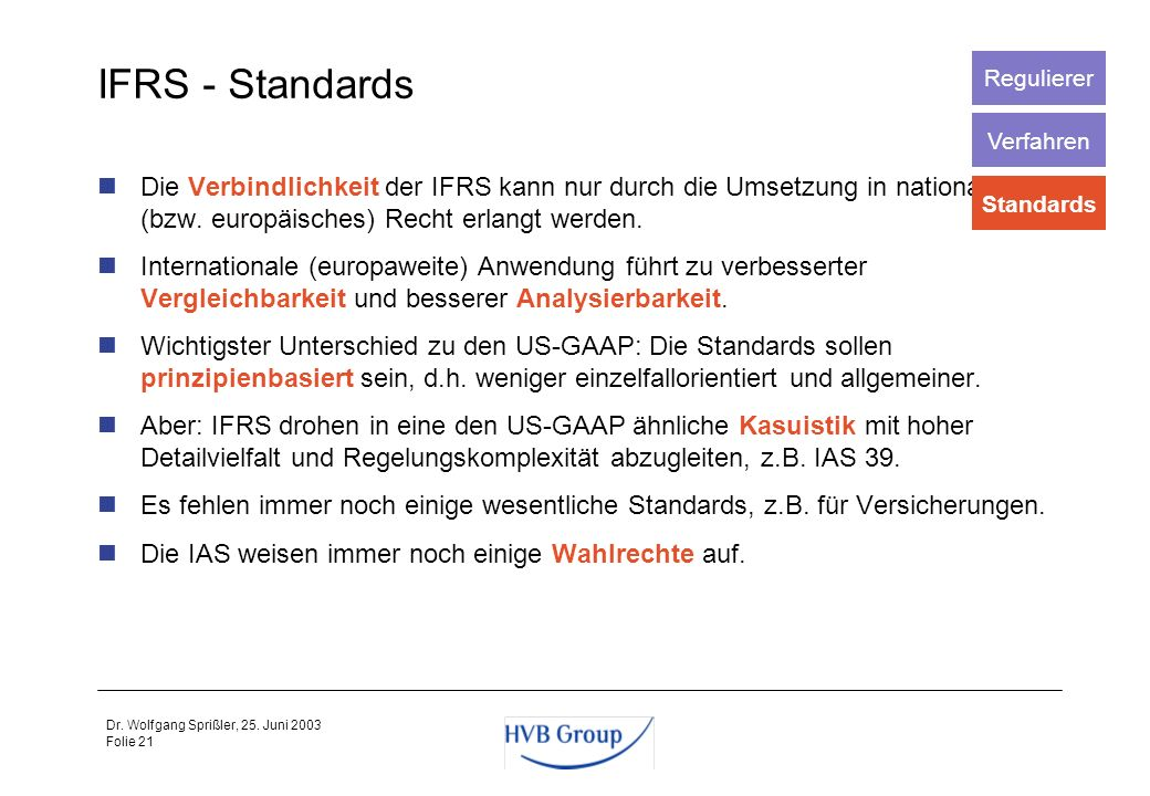 Regulierer IFRS - Standards. Verfahren.