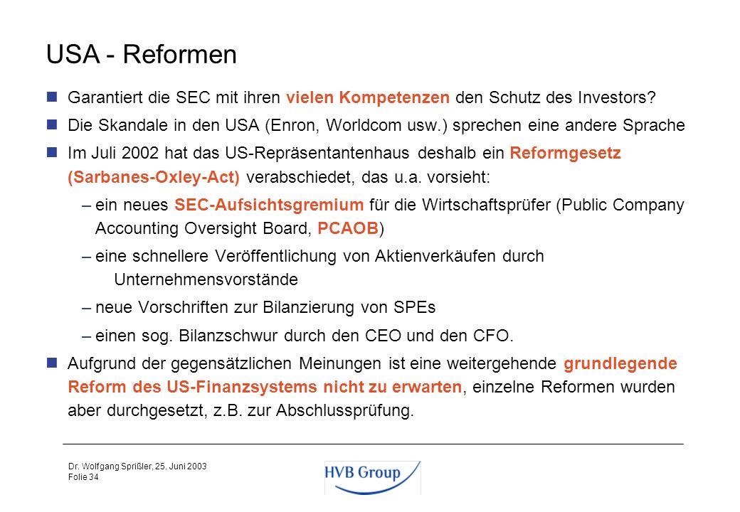 USA - Reformen Garantiert die SEC mit ihren vielen Kompetenzen den Schutz des Investors