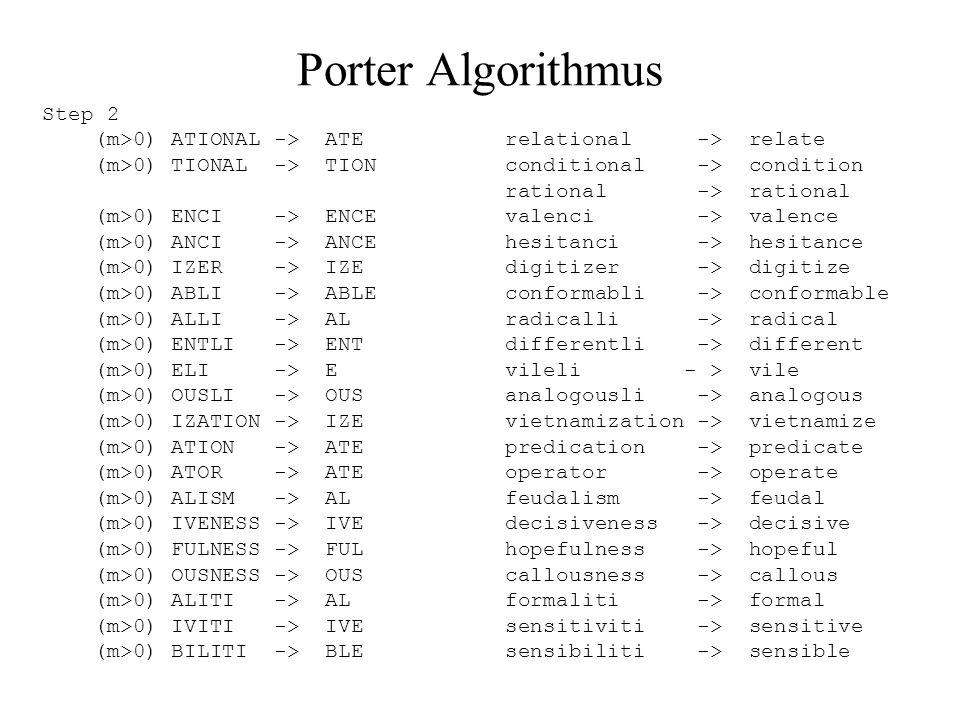 Porter Algorithmus Step 2