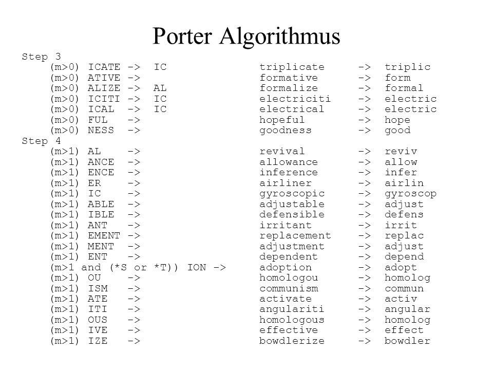 Porter Algorithmus Step 3