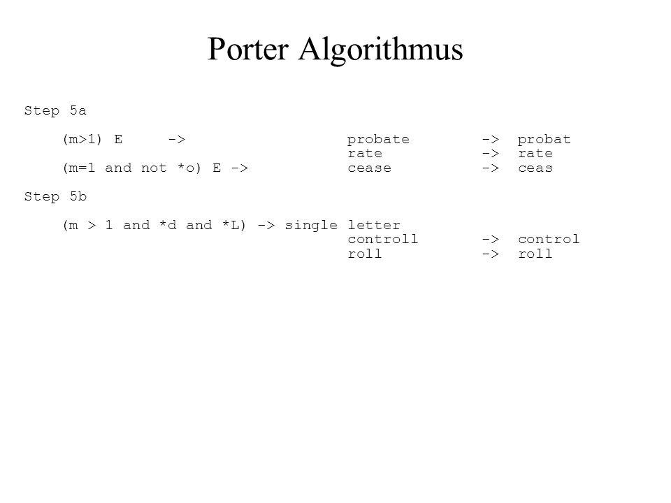 Porter Algorithmus Step 5a (m>1) E -> probate -> probat