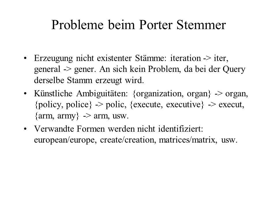 Probleme beim Porter Stemmer