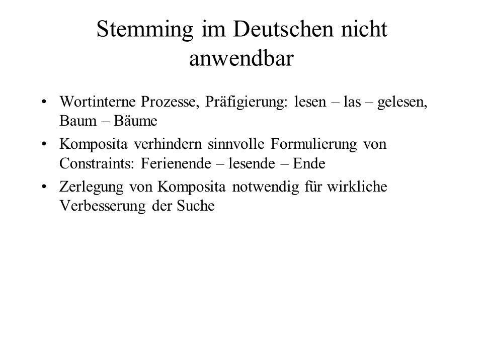 Stemming im Deutschen nicht anwendbar