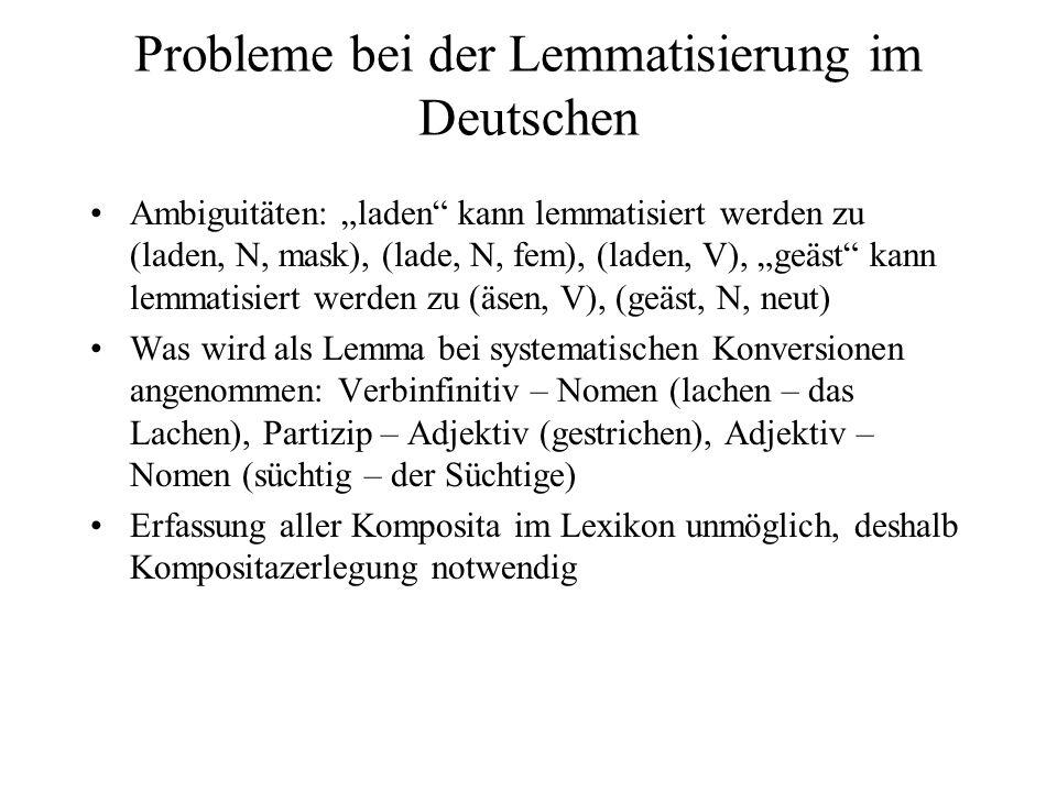 Probleme bei der Lemmatisierung im Deutschen