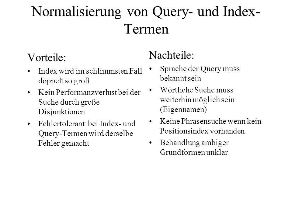 Normalisierung von Query- und Index-Termen