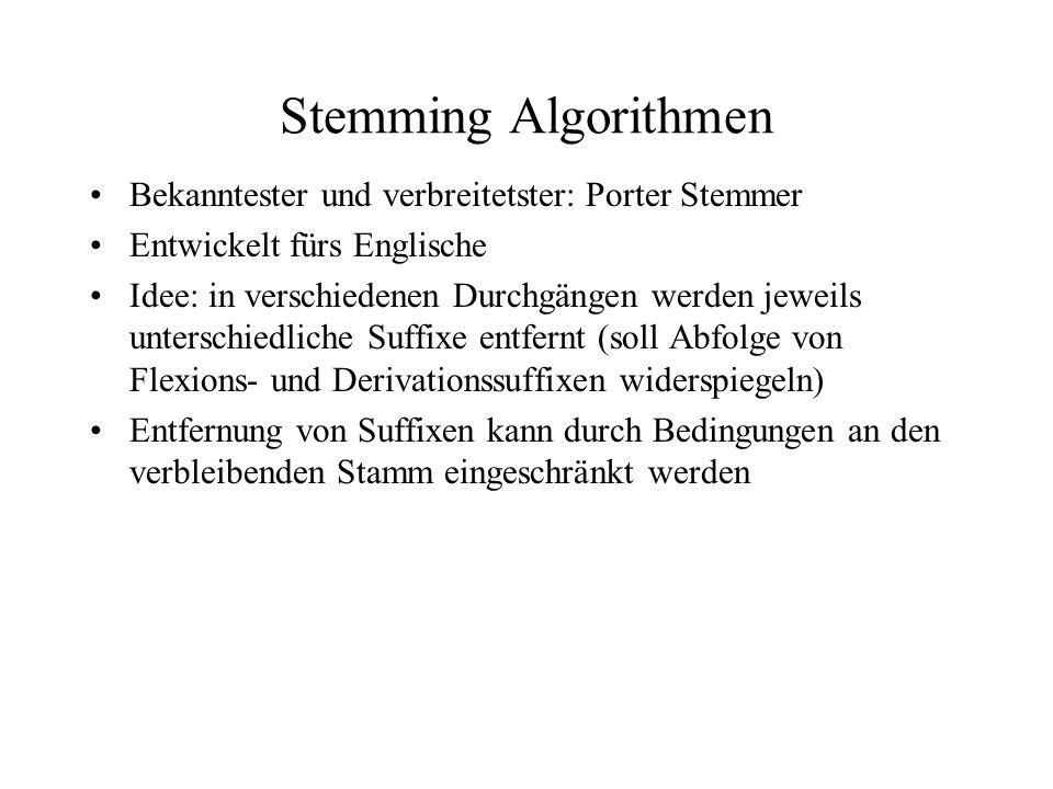 Stemming Algorithmen Bekanntester und verbreitetster: Porter Stemmer