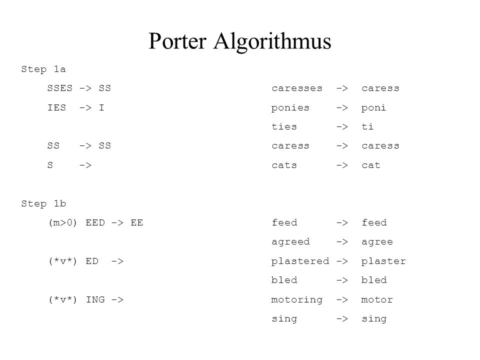 Porter Algorithmus Step 1a SSES -> SS caresses -> caress