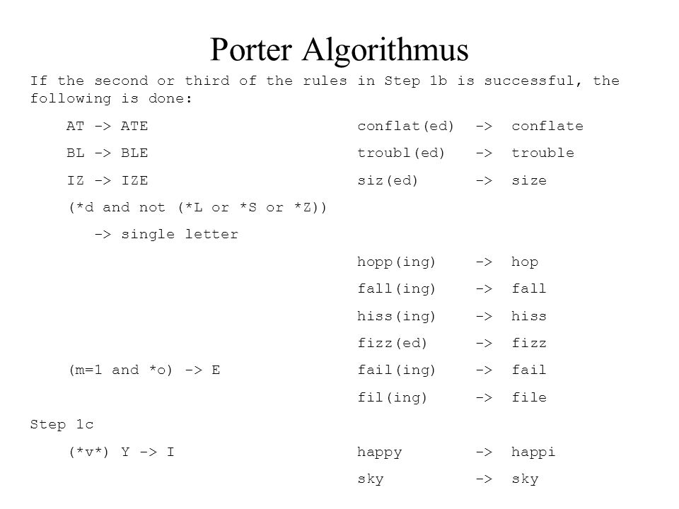 Porter Algorithmus If the second or third of the rules in Step 1b is successful, the following is done: