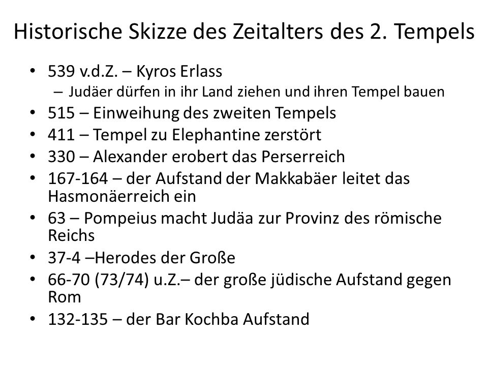 Historische Skizze des Zeitalters des 2. Tempels