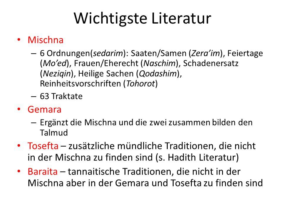 Wichtigste Literatur Mischna Gemara