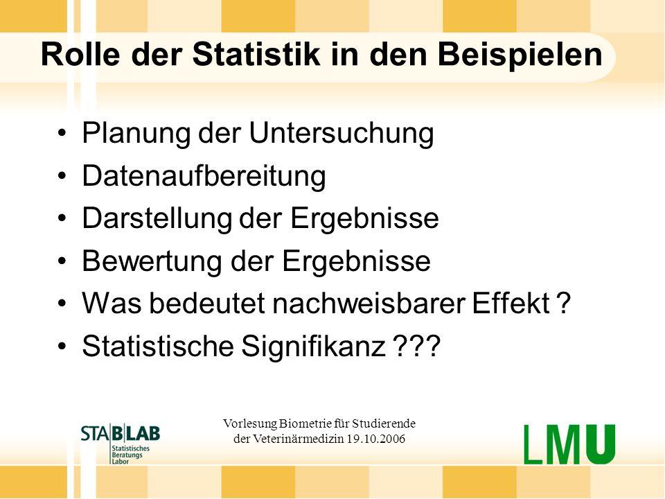 Rolle der Statistik in den Beispielen