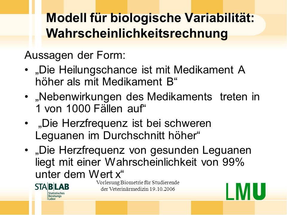 Modell für biologische Variabilität: Wahrscheinlichkeitsrechnung