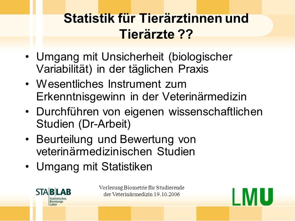 Statistik für Tierärztinnen und Tierärzte