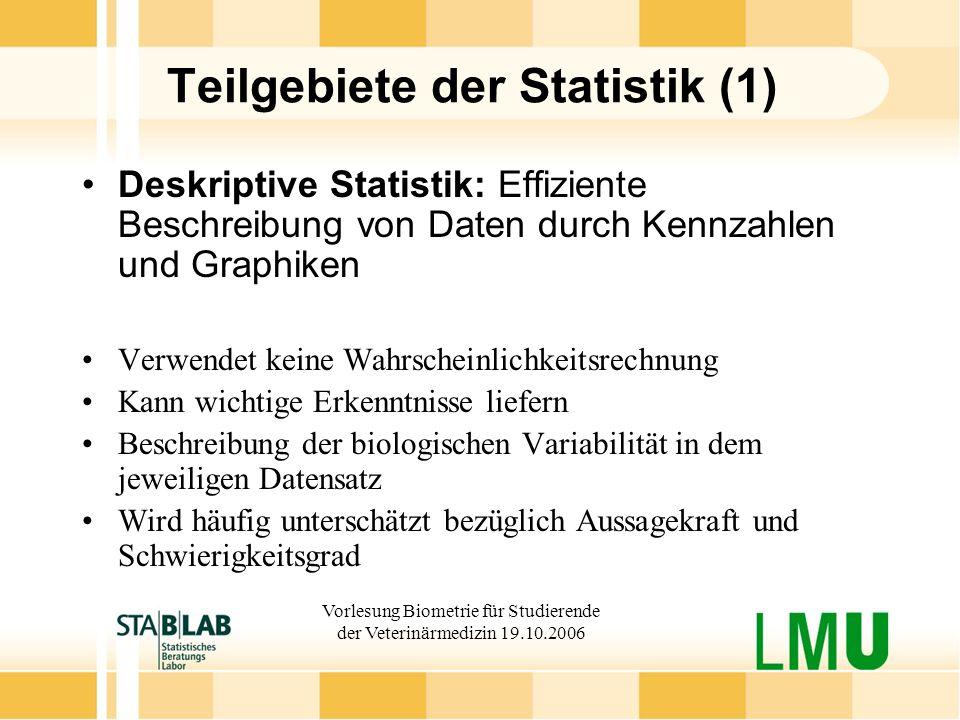 Teilgebiete der Statistik (1)
