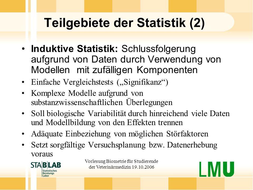 Teilgebiete der Statistik (2)