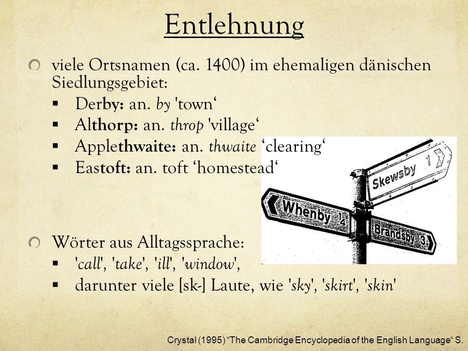 Entlehnung viele Ortsnamen (ca. 1400) im ehemaligen dänischen Siedlungsgebiet: Derby: an. by town'