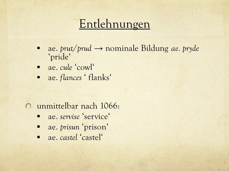 Entlehnungen ae. prut/prud → nominale Bildung ae. pryde 'pride'