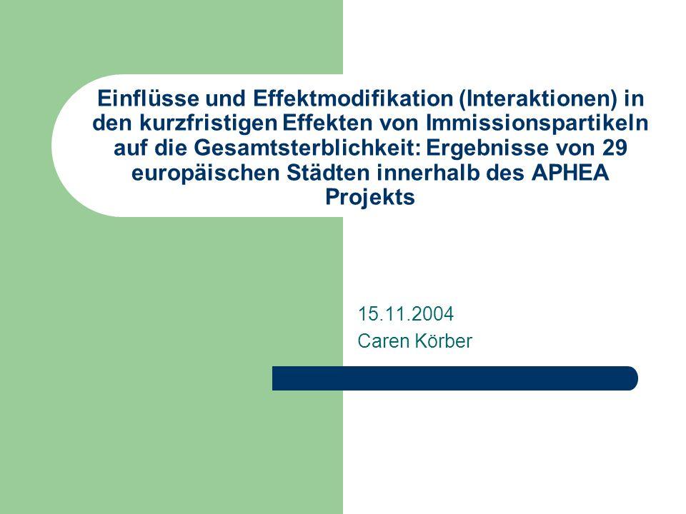 Einflüsse und Effektmodifikation (Interaktionen) in den kurzfristigen Effekten von Immissionspartikeln auf die Gesamtsterblichkeit: Ergebnisse von 29 europäischen Städten innerhalb des APHEA Projekts