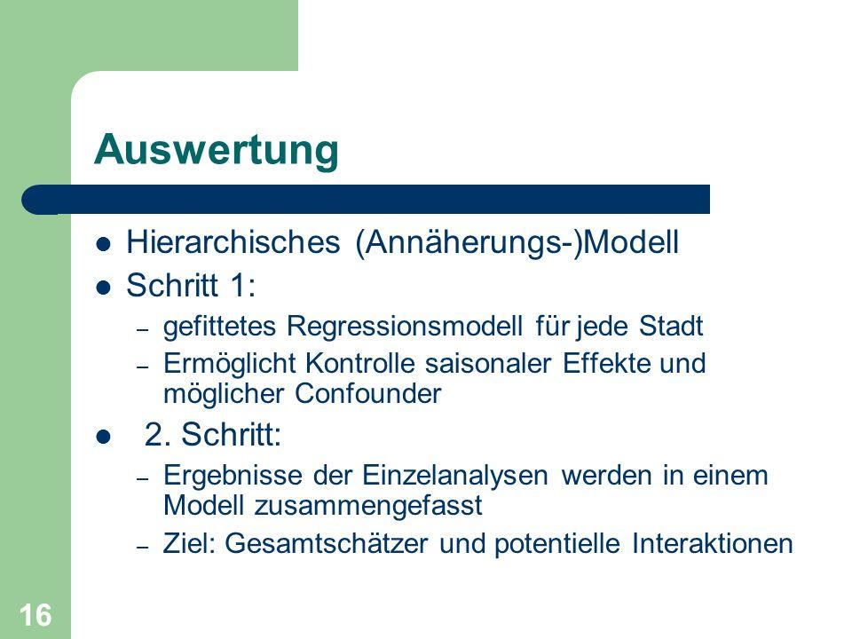 Auswertung Hierarchisches (Annäherungs-)Modell Schritt 1: 2. Schritt: