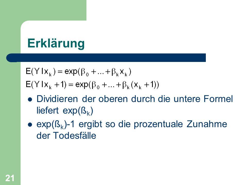 Erklärung Dividieren der oberen durch die untere Formel liefert exp(ßk) exp(ßk)-1 ergibt so die prozentuale Zunahme der Todesfälle.
