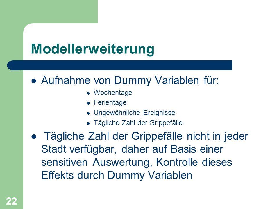 Modellerweiterung Aufnahme von Dummy Variablen für: