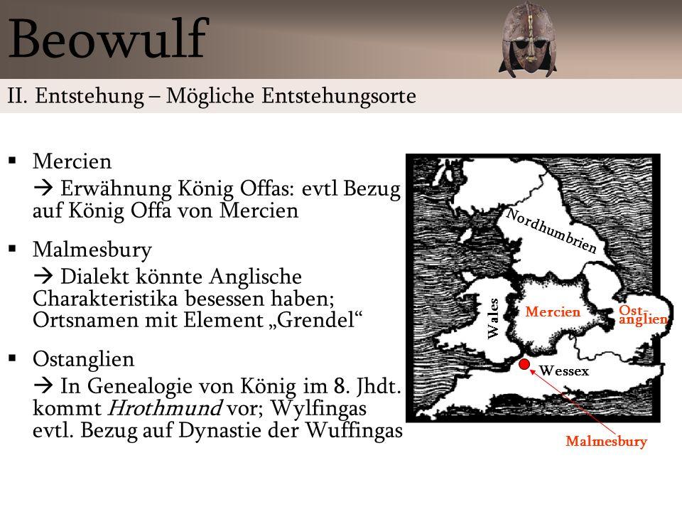 Beowulf II. Entstehung – Mögliche Entstehungsorte Mercien