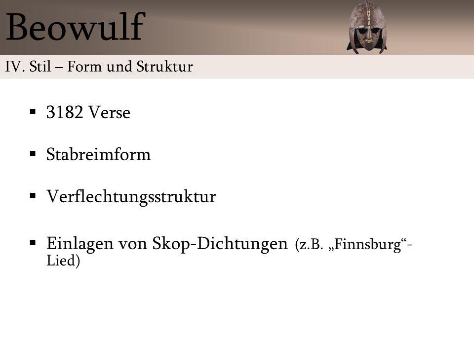 Beowulf 3182 Verse Stabreimform Verflechtungsstruktur