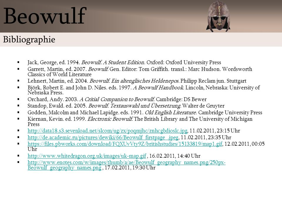 Beowulf Bibliographie