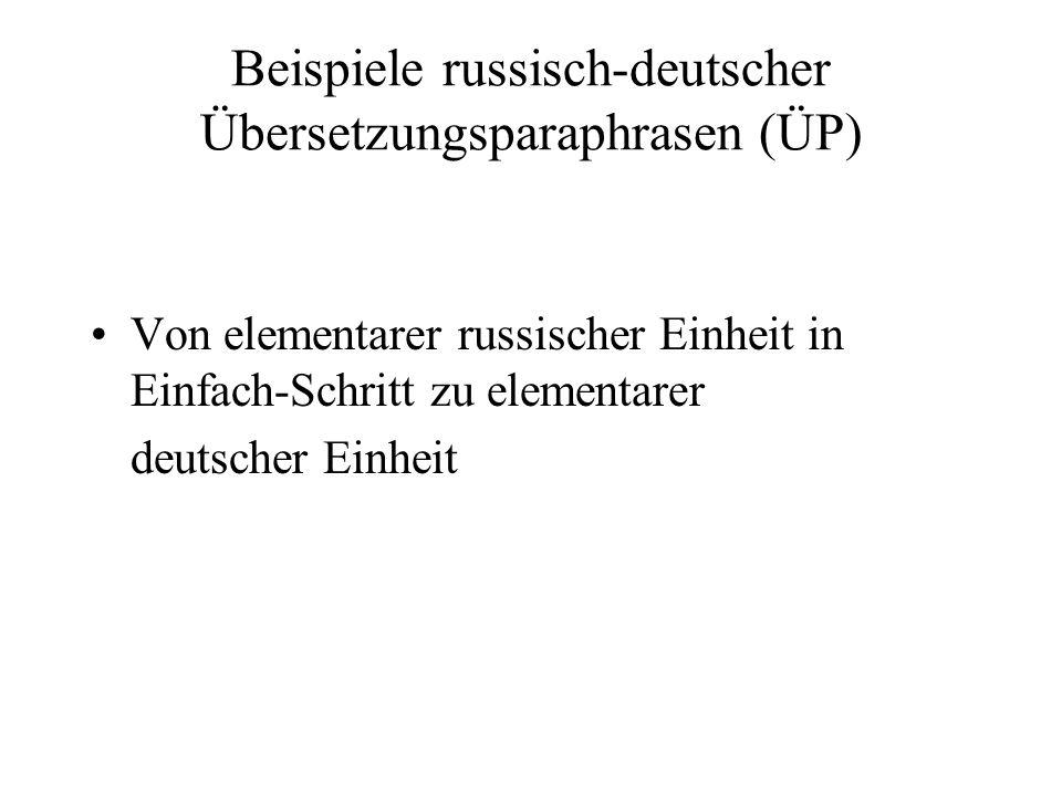 Beispiele russisch-deutscher Übersetzungsparaphrasen (ÜP)