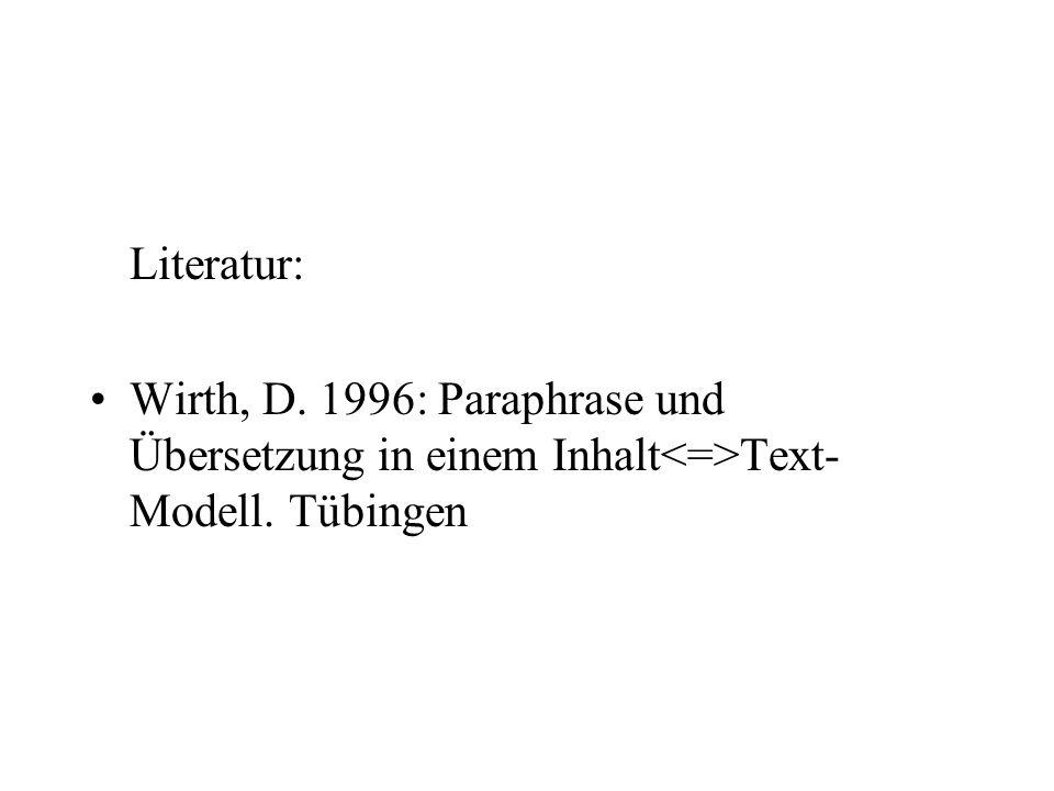 Literatur: Wirth, D. 1996: Paraphrase und Übersetzung in einem Inhalt<=>Text-Modell. Tübingen