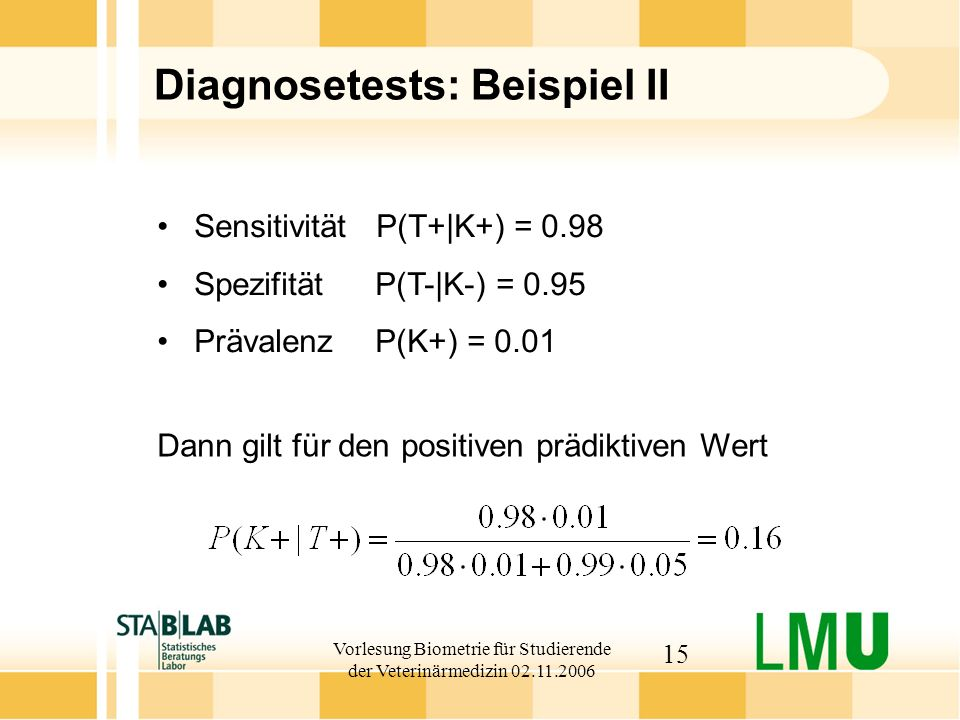 Diagnosetests: Beispiel II