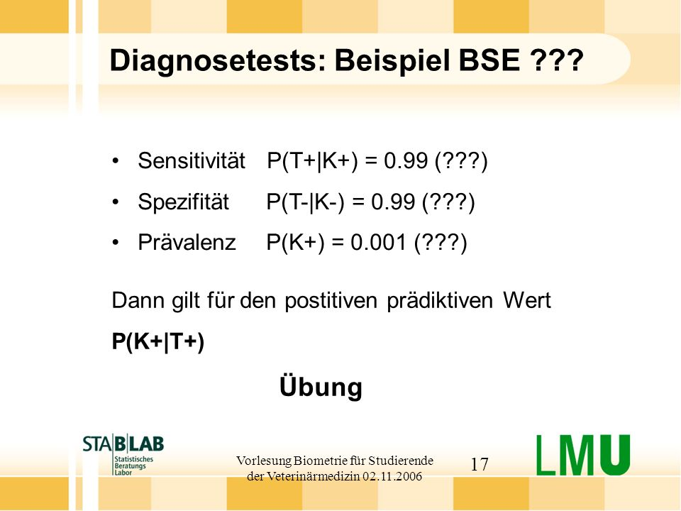 Diagnosetests: Beispiel BSE