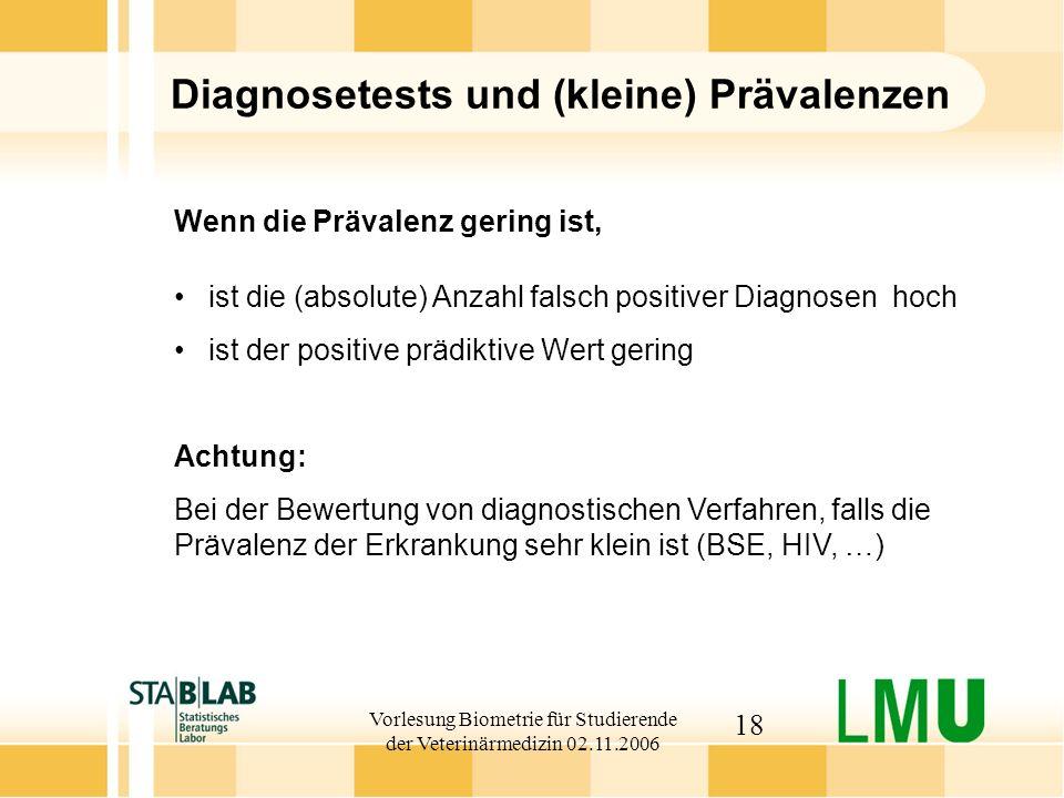 Diagnosetests und (kleine) Prävalenzen