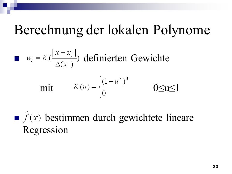 Berechnung der lokalen Polynome