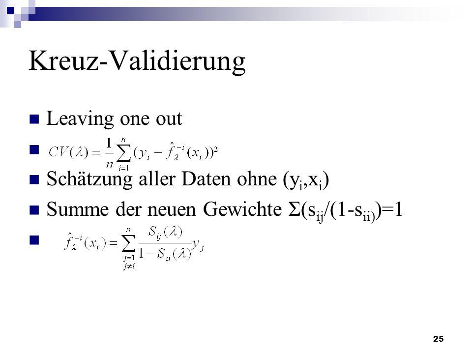 Kreuz-Validierung Leaving one out Schätzung aller Daten ohne (yi,xi)