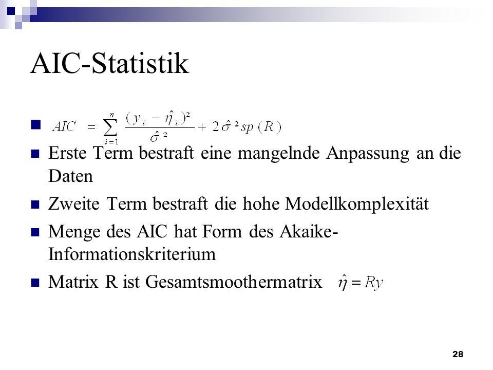 AIC-Statistik Erste Term bestraft eine mangelnde Anpassung an die Daten. Zweite Term bestraft die hohe Modellkomplexität.