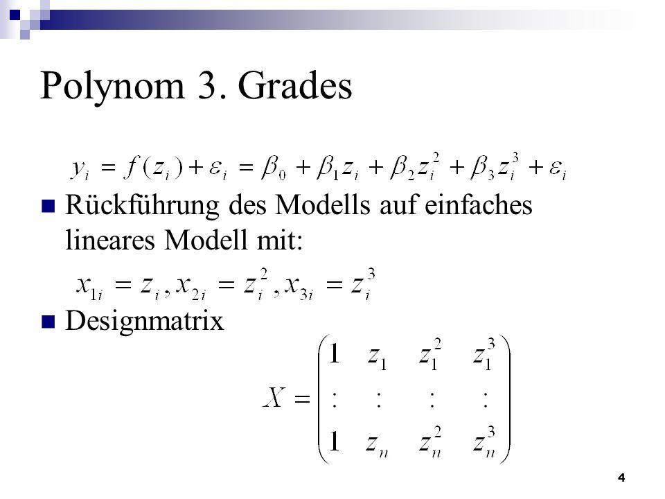 Polynom 3. Grades Rückführung des Modells auf einfaches lineares Modell mit: Designmatrix