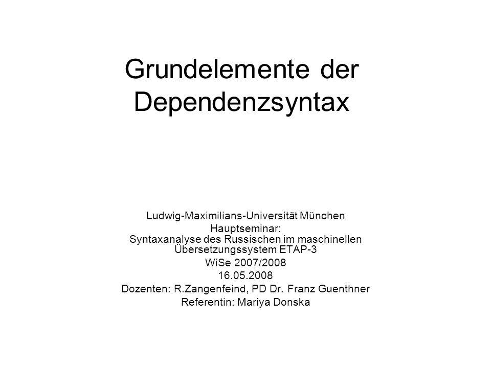 Grundelemente der Dependenzsyntax