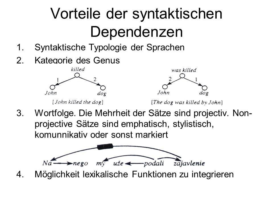 Vorteile der syntaktischen Dependenzen
