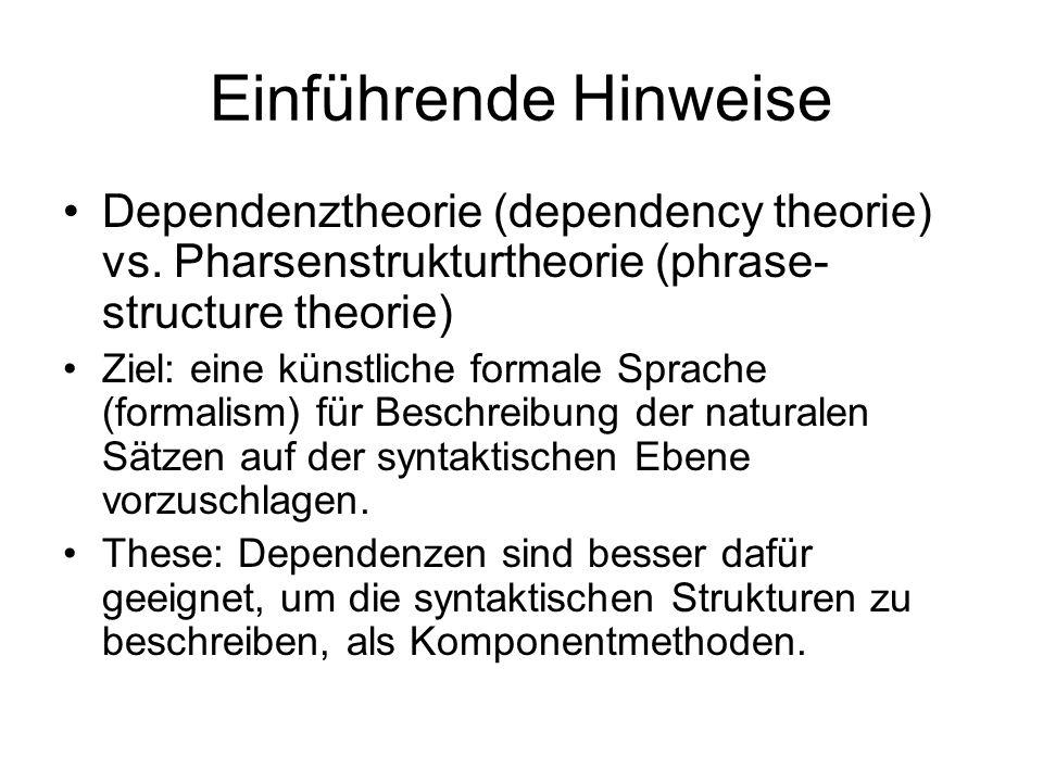 Einführende Hinweise Dependenztheorie (dependency theorie) vs. Pharsenstrukturtheorie (phrase-structure theorie)