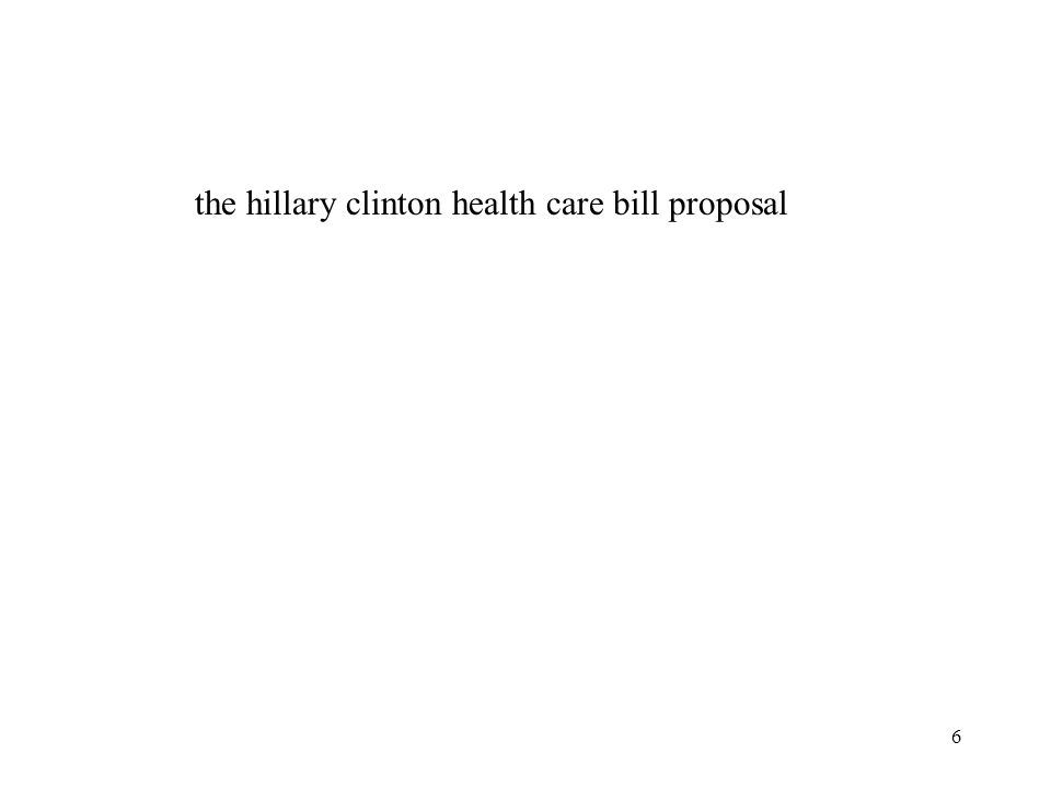 the hillary clinton health care bill proposal