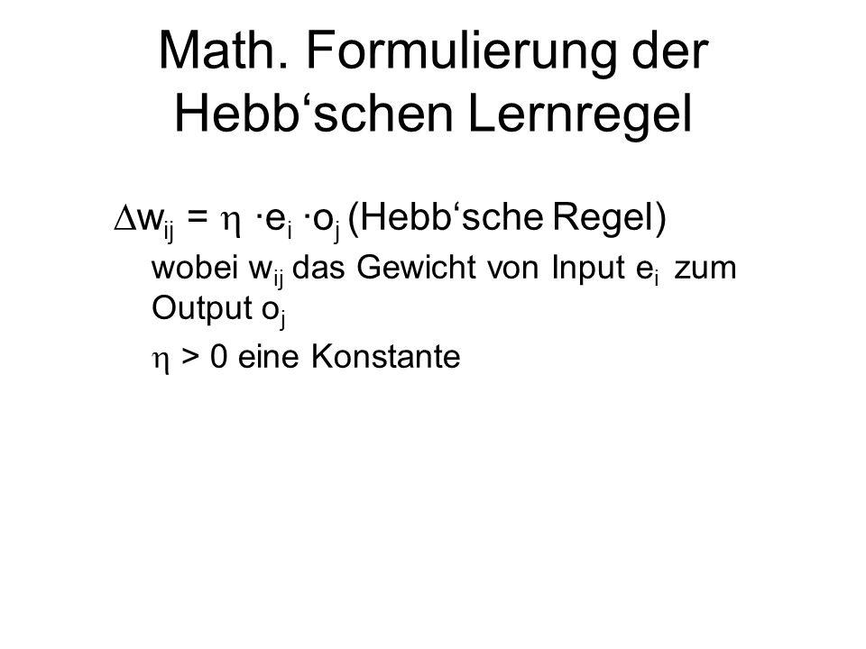 Math. Formulierung der Hebb'schen Lernregel