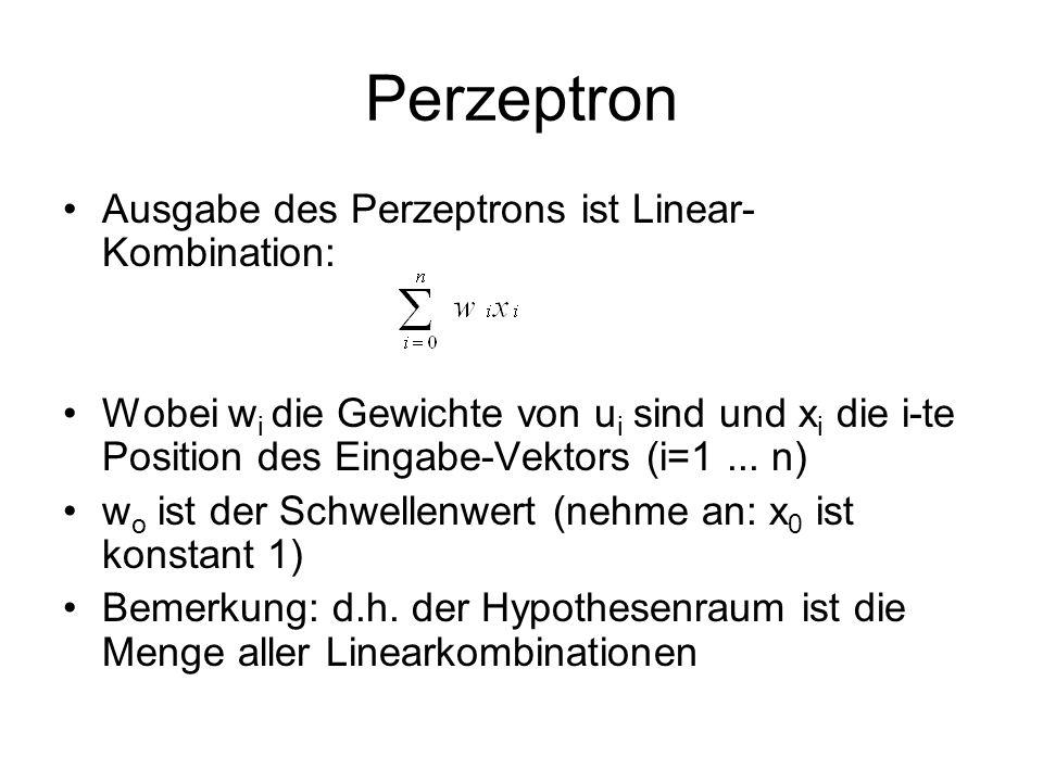 Perzeptron Ausgabe des Perzeptrons ist Linear-Kombination: