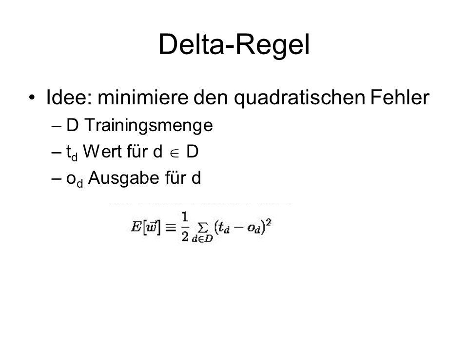Delta-Regel Idee: minimiere den quadratischen Fehler D Trainingsmenge