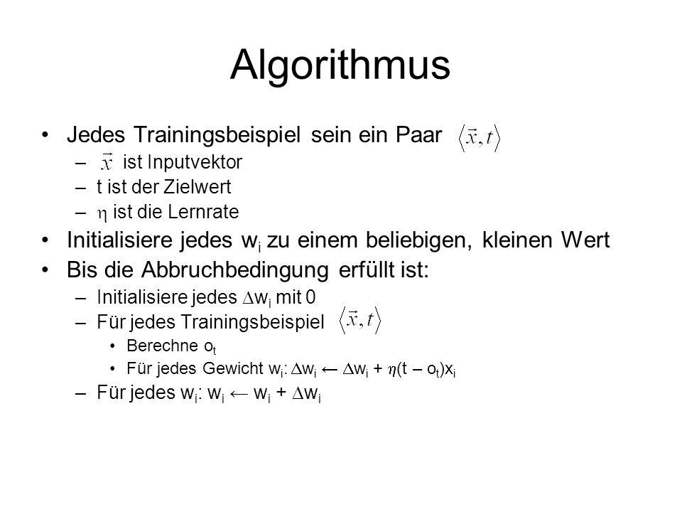 Algorithmus Jedes Trainingsbeispiel sein ein Paar