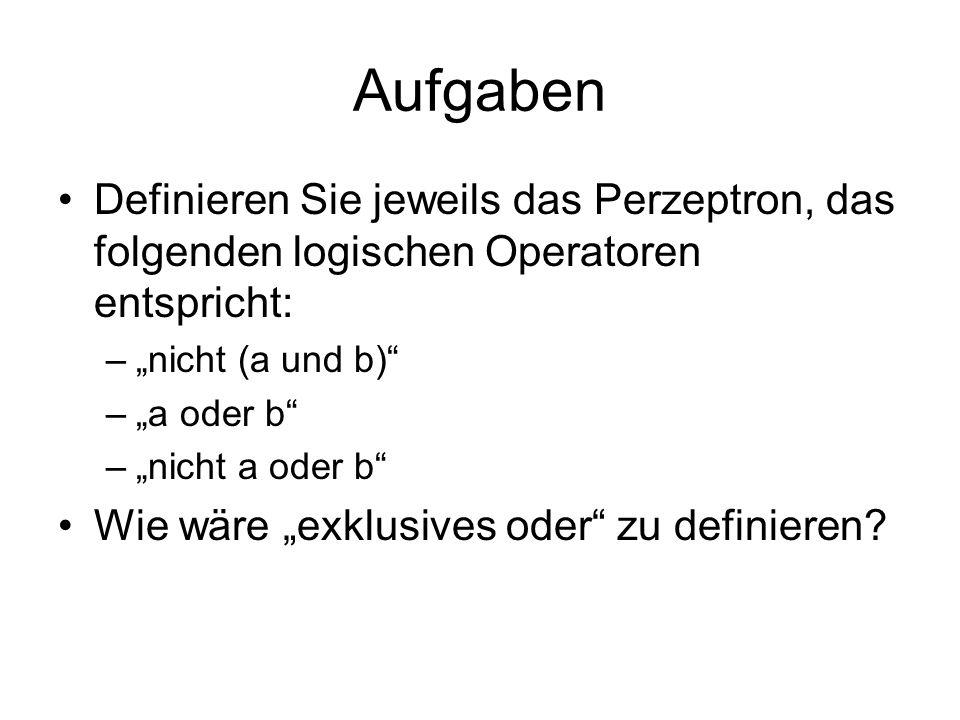 """Aufgaben Definieren Sie jeweils das Perzeptron, das folgenden logischen Operatoren entspricht: """"nicht (a und b)"""